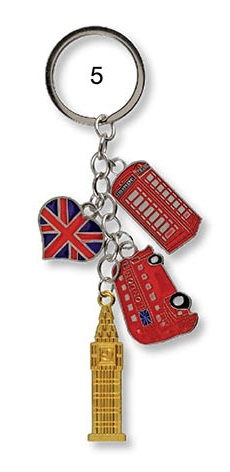 British Silver Union Jack Heart Bus Big Ben UK Keyring Charm Bag Purse